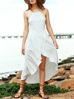 Robe Cami Blanche Asymétrique Sans Manches - Blanc L