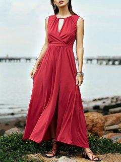 Red Keyhole Neckline Sleeveless Maxi Dress - Cerise S