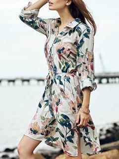 Sweet Floral Print Turn-Down Collar 3/4 Sleeve Shirt - Xl