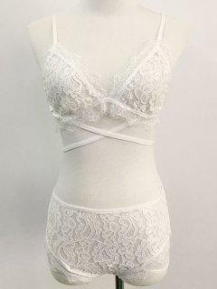 Crisscross Lace Bra And Panty - White S