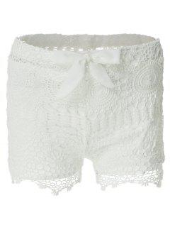 Solid Color Lace Tie-Up Shorts - White M