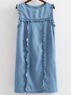 Flouncing Col Rond Manches Denim Dress - Bleu Glacé M