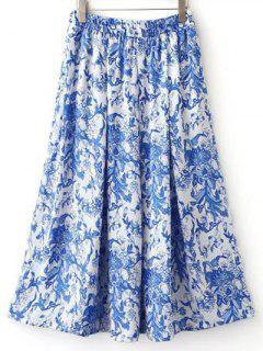 Print High Waisted Pockets Midi Skirt - S