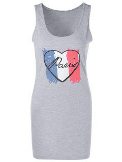 Sleeveless Heart Print Loungewear - Gray Xl