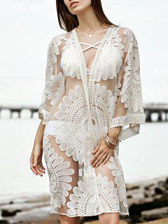 Broderie Manches 3/4 See-Through Cover Up - Blanc