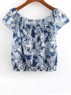 Imprimé Scoop Cou à Manches Courtes T-shirt - Bleu S