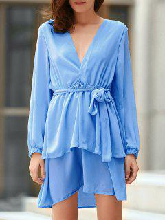 Plunging Neck Flirty Ruffle Chiffon Dress - Light Blue Xl
