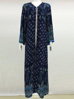 Printed Long Sleeve Maxi Cover Up - Sapphire Blue