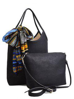 Scarf PU Leather Solid Colour Tote Bag - Black
