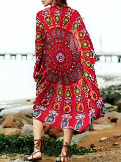 Convertible Round Shape Print Cover Up - Rose