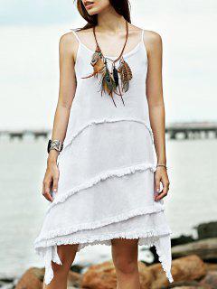 Fringe Irregular Hem Cami Sleeveless Dress - White S