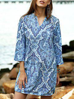 Fitting Imprimé Col En V 3/4 Robe à Manches - Bleu Léger  S