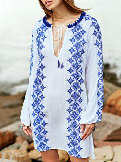 Broderie Robe Col Rond Manches Longues - Blanc S