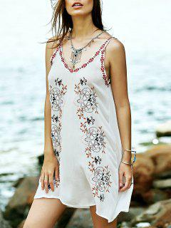 Embroidered Strap Dress - White M