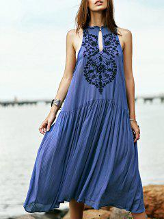Embroidered Beaded Bohemian Dress - Blue S