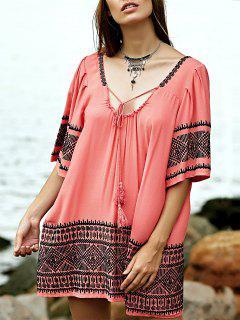Robe Tunique Brodée - Pastèque Rouge S