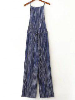 Striped Pleated Palazzo Jumpsuit - Blue S