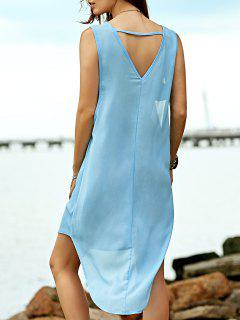 Cut Out Solid Color Round Neck Sleeveless Dress - Light Blue S