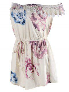 Drawstring Floral Print Romper - Off-white S