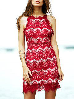 Red Lace Spaghetti Straps Semi Formal Dress - Red S