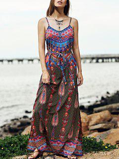 Vintage Print Cami Side Slit Maxi Dress - S