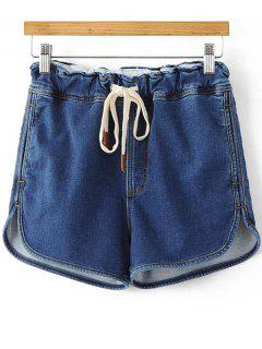 Drawstring Denim Shorts - Deep Blue S