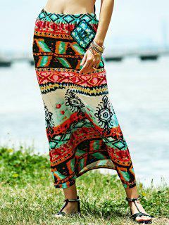 Fitted Ethnic Print High Waist Skirt - S
