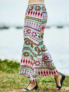 Geometric Print High Waist A-Line Skirt - Rose S