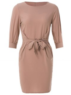 Boat Neck Sheath Dress With Belt - Nude Pink Xs