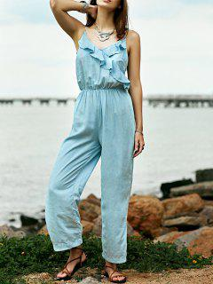 Ruffles Cami Light Blue Denim Jumpsuit - Light Blue S