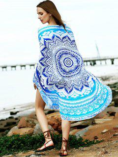 Round Shape Print Convertible Cape Cover Up - Blue