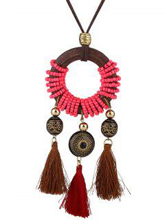 Bohemia Tassels Pendant Long Necklace - Rose Madder