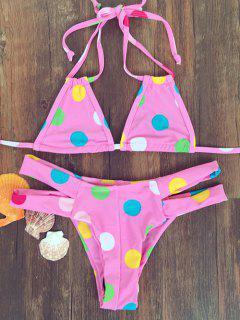 Polka Dot Halter Bandage Bikini - Rose  M