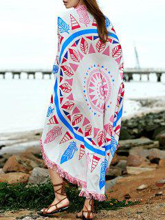 Feather Print Convertible Round Shape Cape Cover Up
