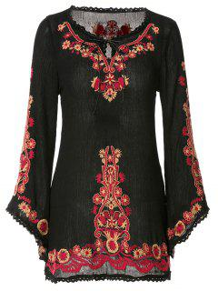 Floral Embroidery Lace Splicing Long Sleeve Dress - Black