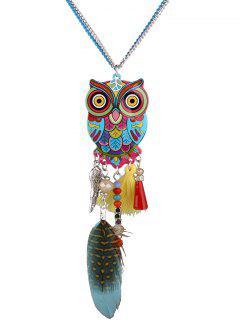 Tassel Feather Owl Pendant Necklace