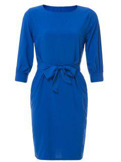 Boat Neck Sheath Dress With Belt - Sapphire Blue M