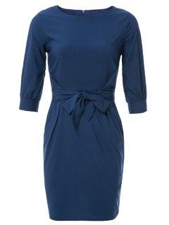 Boat Neck Sheath Dress With Belt - Purplish Blue M