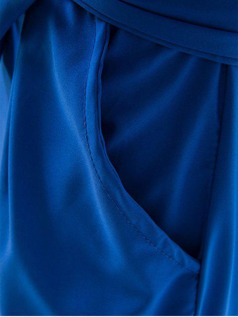 hot Boat Neck Sheath Dress With Belt - SAPPHIRE BLUE L Mobile