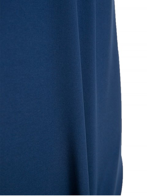 fancy Boat Neck Sheath Dress With Belt - PURPLISH BLUE M Mobile