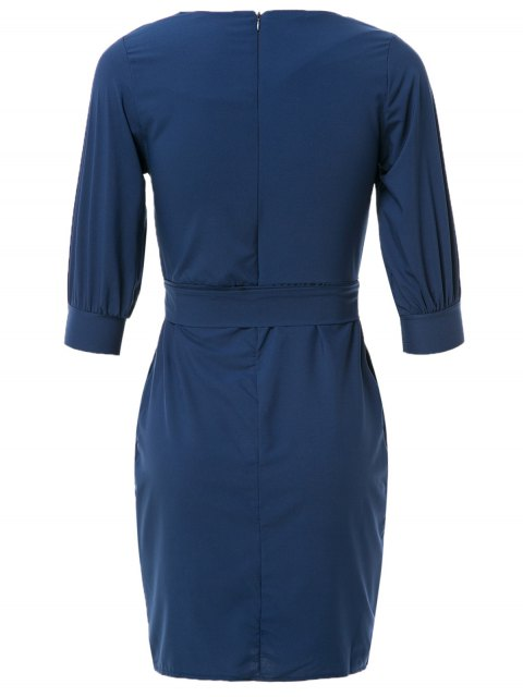 buy Boat Neck Sheath Dress With Belt - PURPLISH BLUE 2XL Mobile