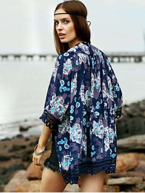 best Lace Trim Printed Kimono - COLORMIX XL Mobile