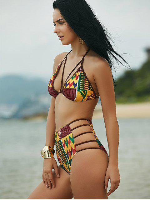 shops Halter African Print High Waist Bathing Suit - COLORMIX S Mobile
