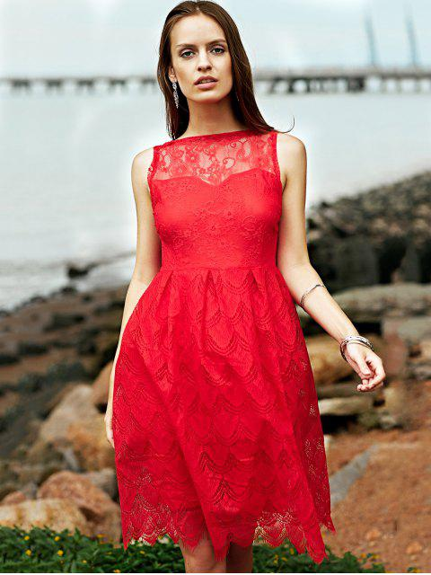 women Full Lace Round Neck Sleeveless Flare Dress - RED XL Mobile
