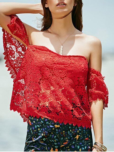 chic Off Shoulder Red Lace Top - RED M Mobile