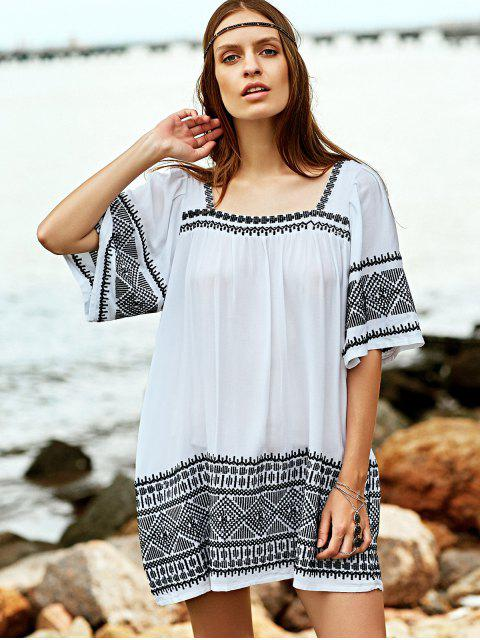 women Embroidered Babydoll Tunic Dress - WHITE S Mobile