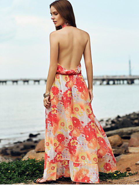 chic Printed Backless Stand Neck Long Dress - YELLOW XL Mobile