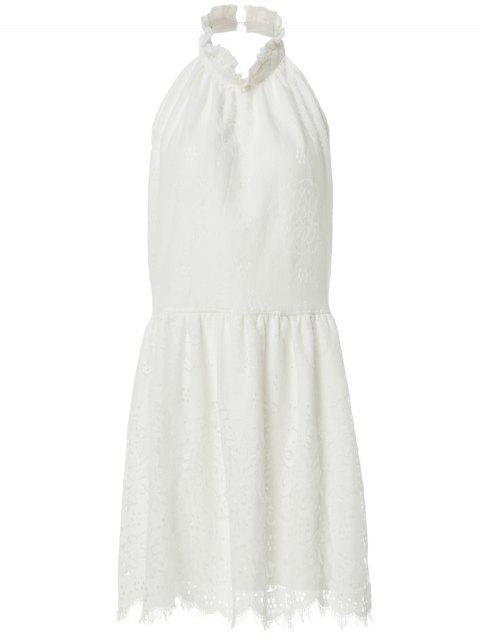 latest Halter Neck Solid Color Backless Lace Dress - WHITE S Mobile