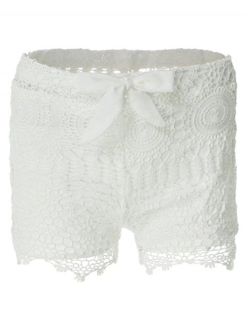 best Solid Color Lace Tie-Up Shorts - WHITE M Mobile