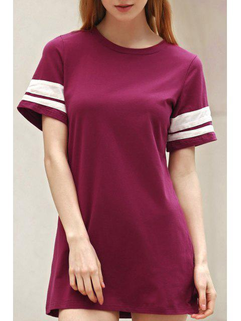 ladies Stripe Jewel Neck Short Sleeve Dress - WINE RED XL Mobile